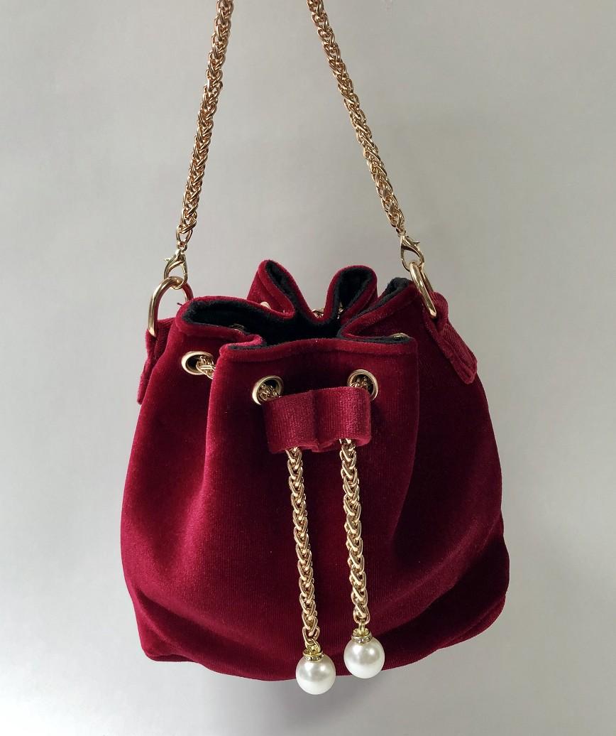 Velor Purse bag-Red