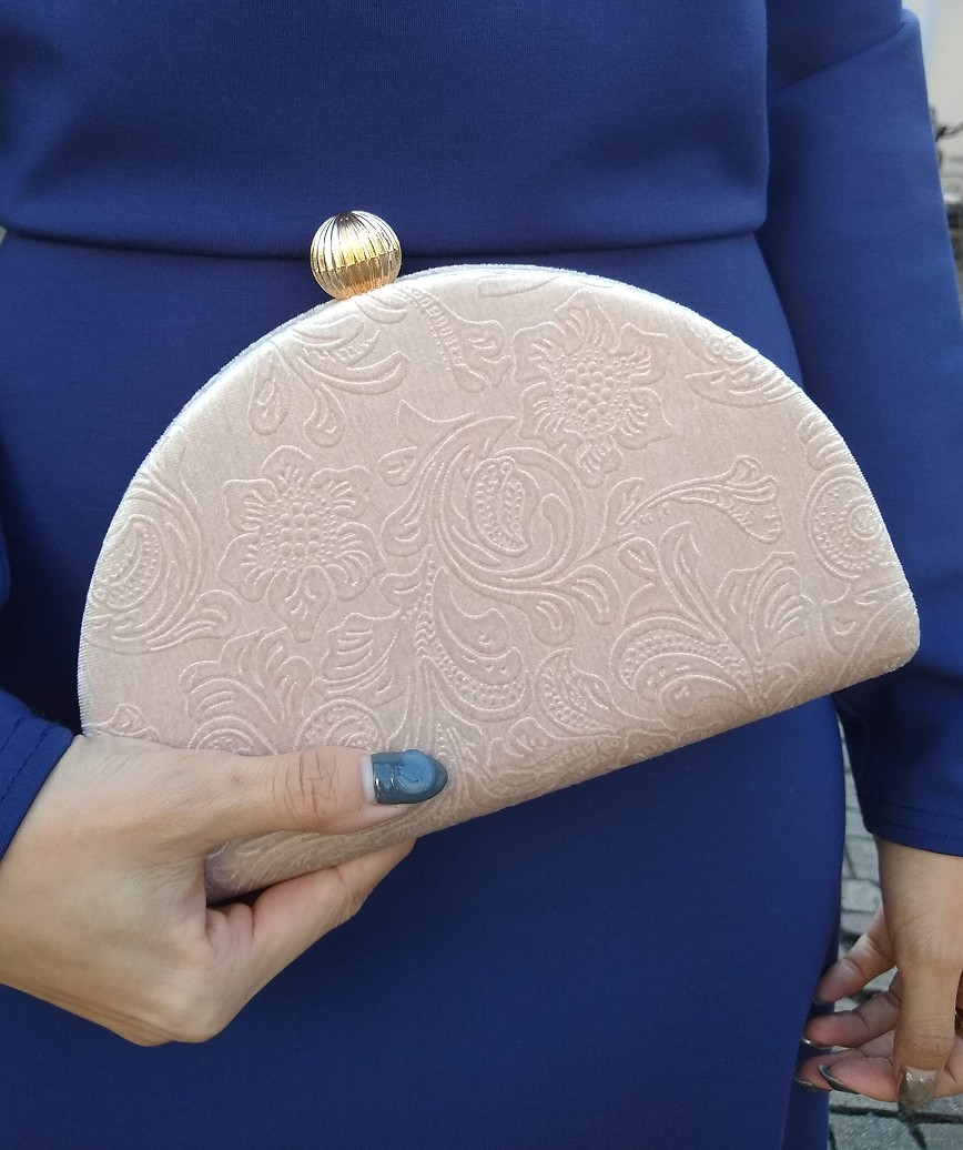 Velor Semicircle Cluth bag-Pink