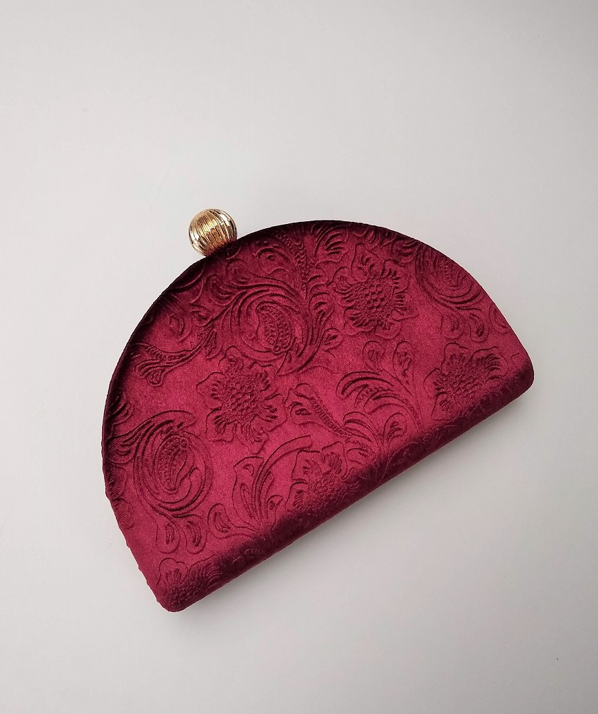Velor Semicircle Cluth bag-Red