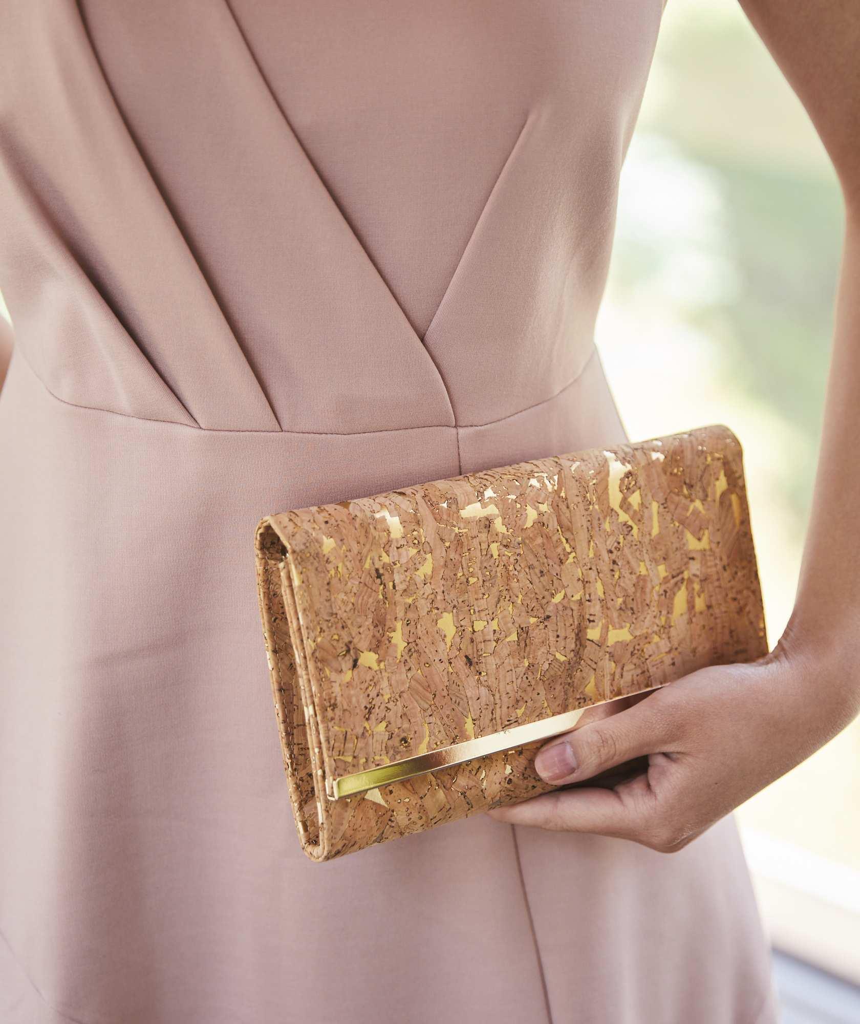 Cork Gold Letter Clutch bag