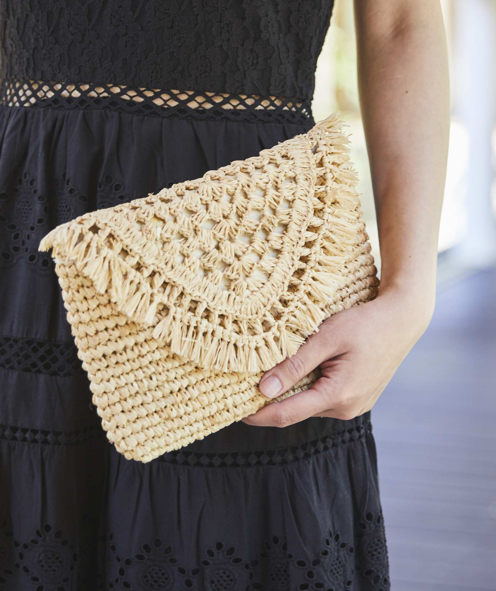 Beige Straw Clutch bag