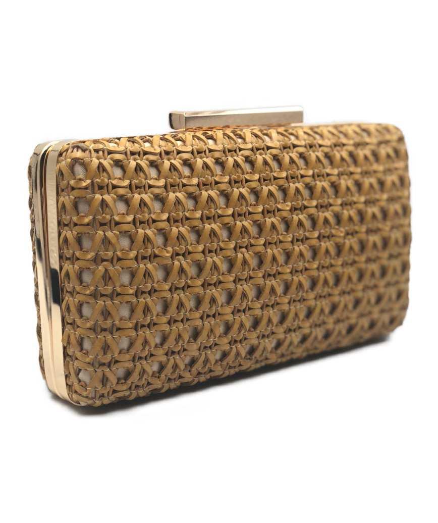 Leather Basket Clutch bag