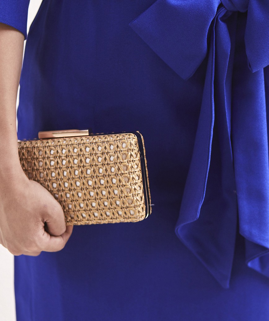 Leather Basket Clutch bag