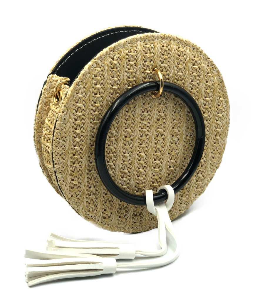 Round Straw Crossbody bag - Natural