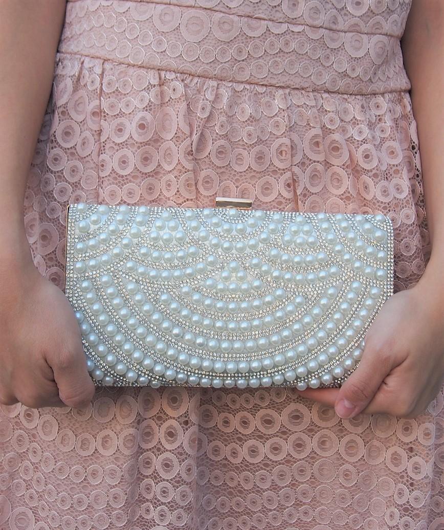 Pearl motif Clutch bag