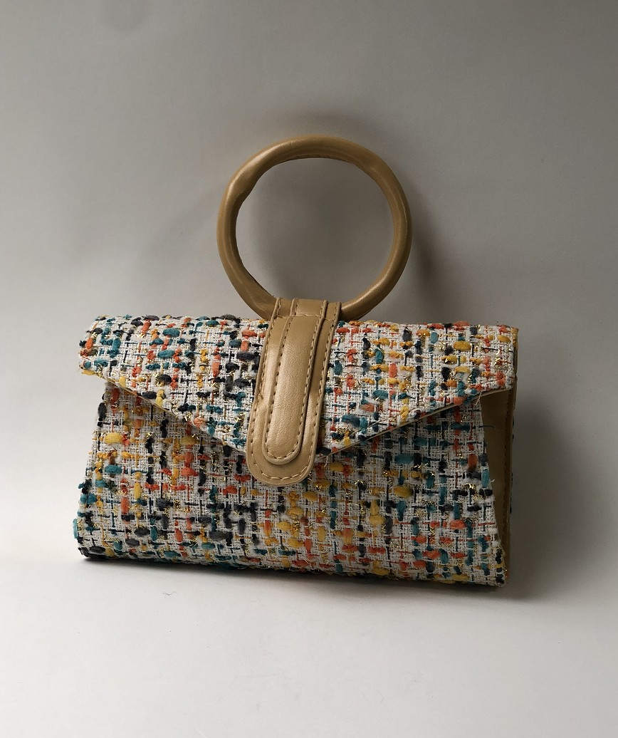 Tweed Hand bag-Beige