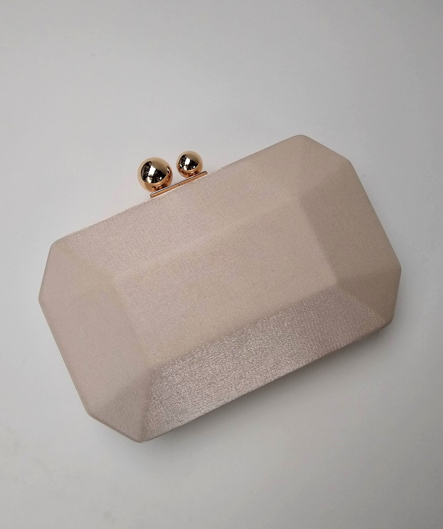 Simple Satin Cluth bag-Pinkbeige