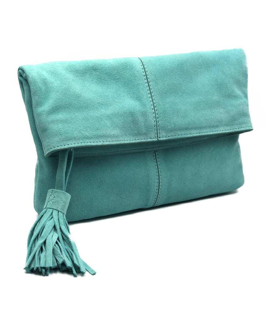 Suede fold clutch bag - Green