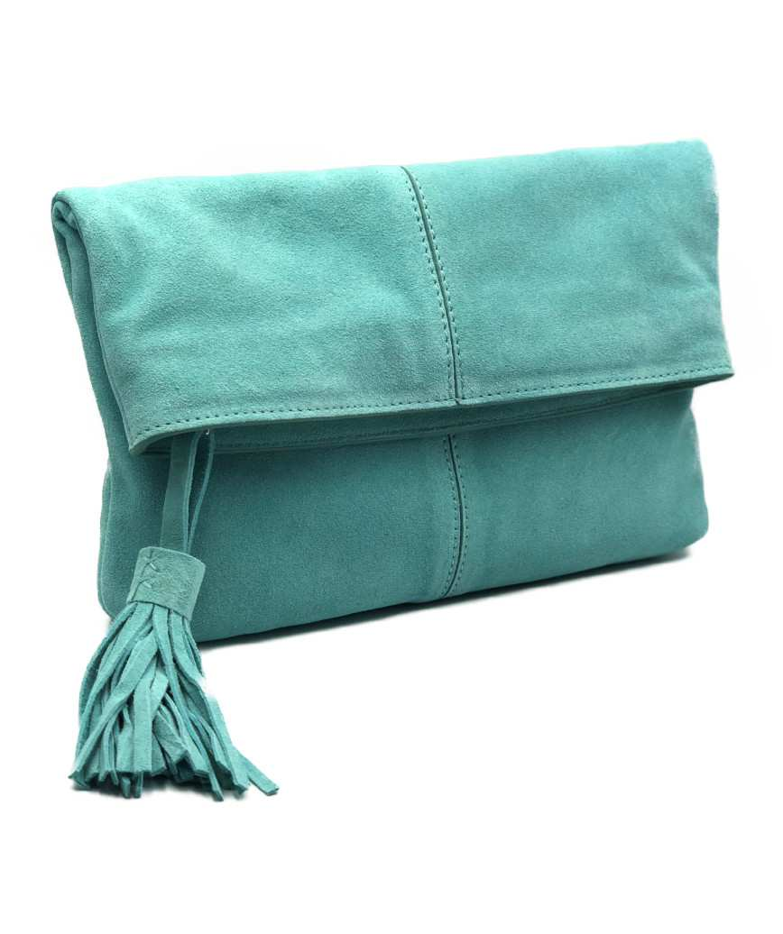 Suede fold clutch bag - Green