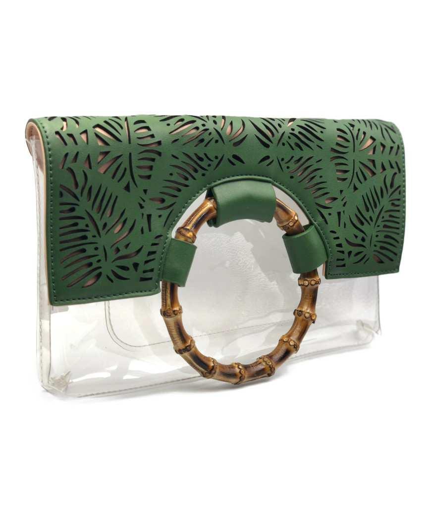 Tropical Transparent clutch bag