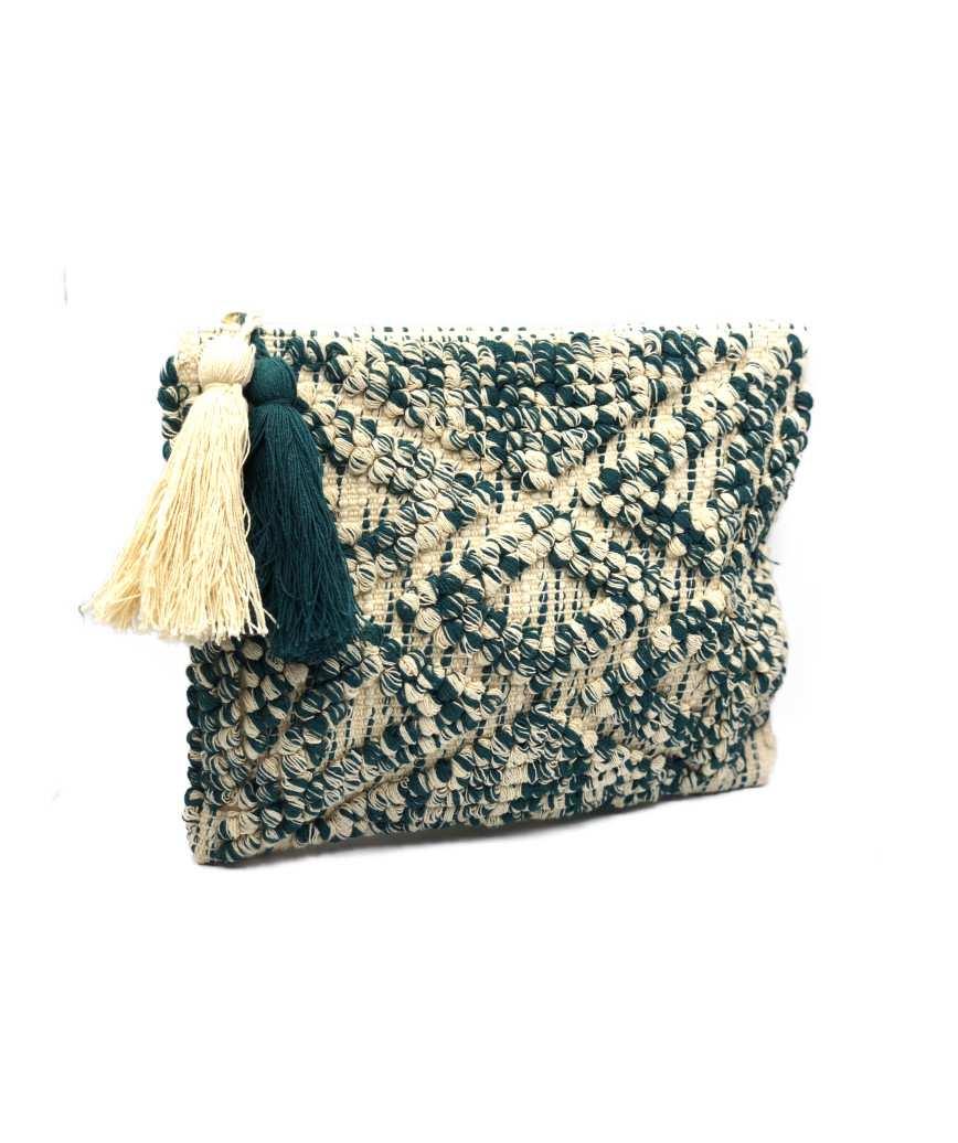 Fringe Cloth weave Cluth bag - Green