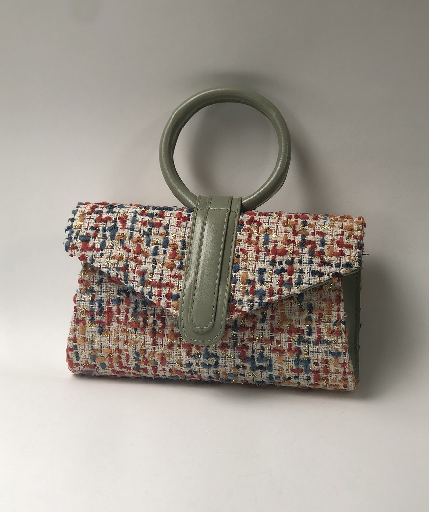 Tweed Hand bag-Green