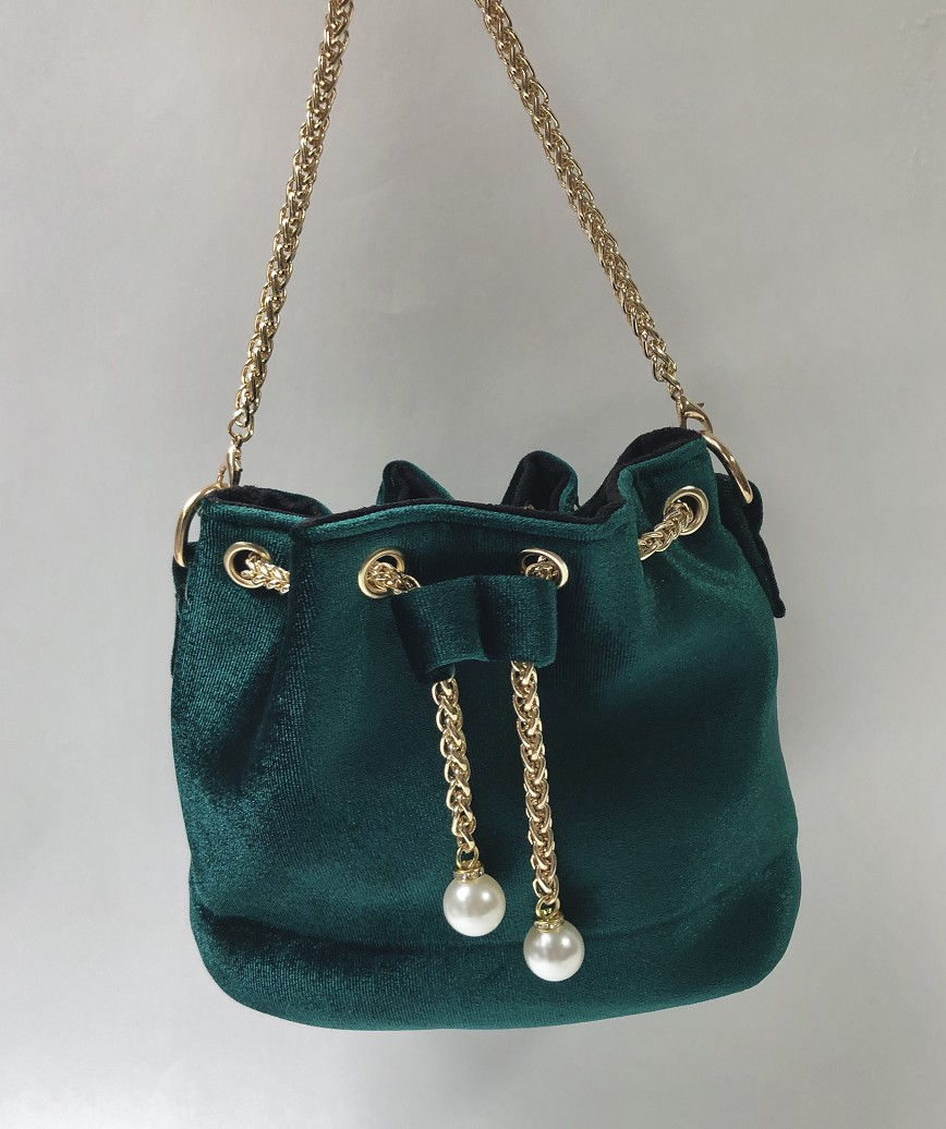 Velor Purse bag-Green