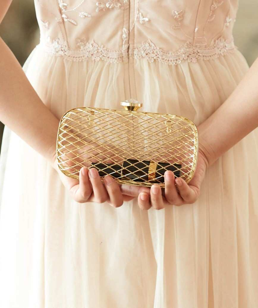 Gold skeleton Clutch bag