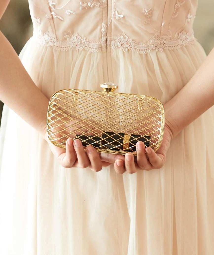Gold skeleton Clutch bag