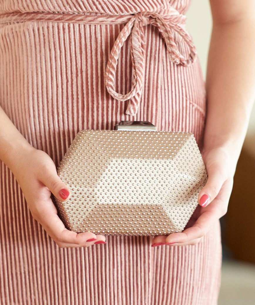 Hexagon Gold Clutch bag