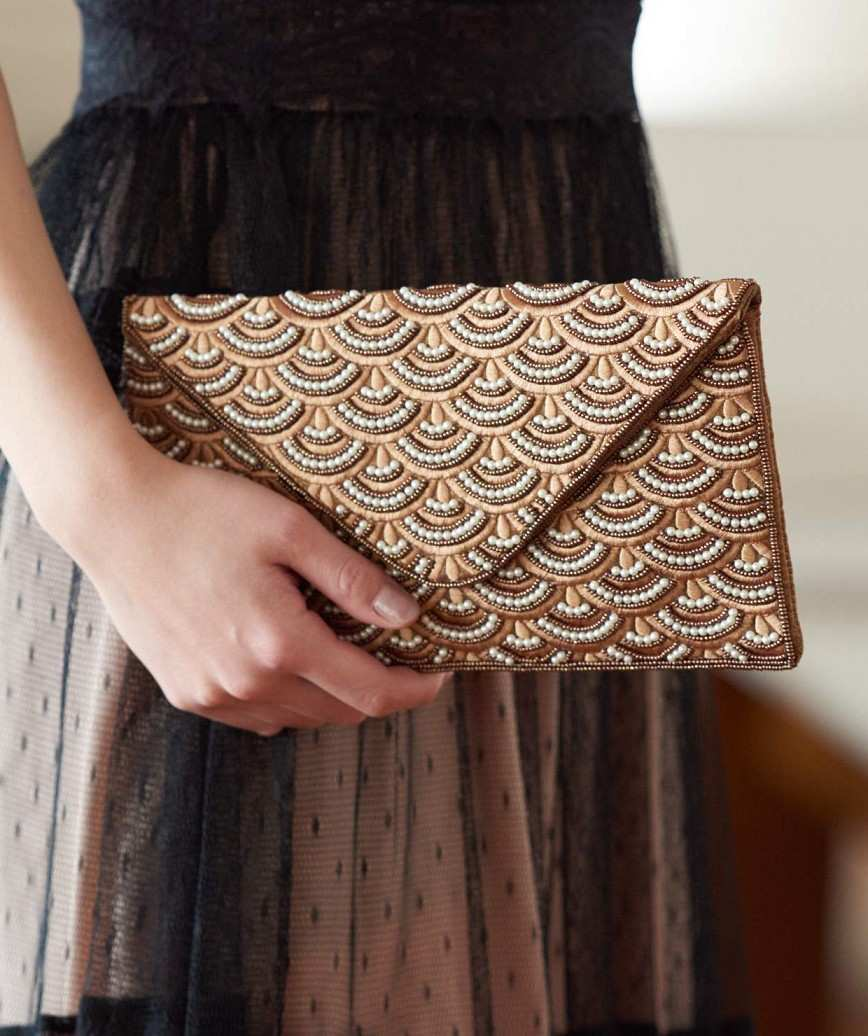 Gold Pattern Later Clutch bag