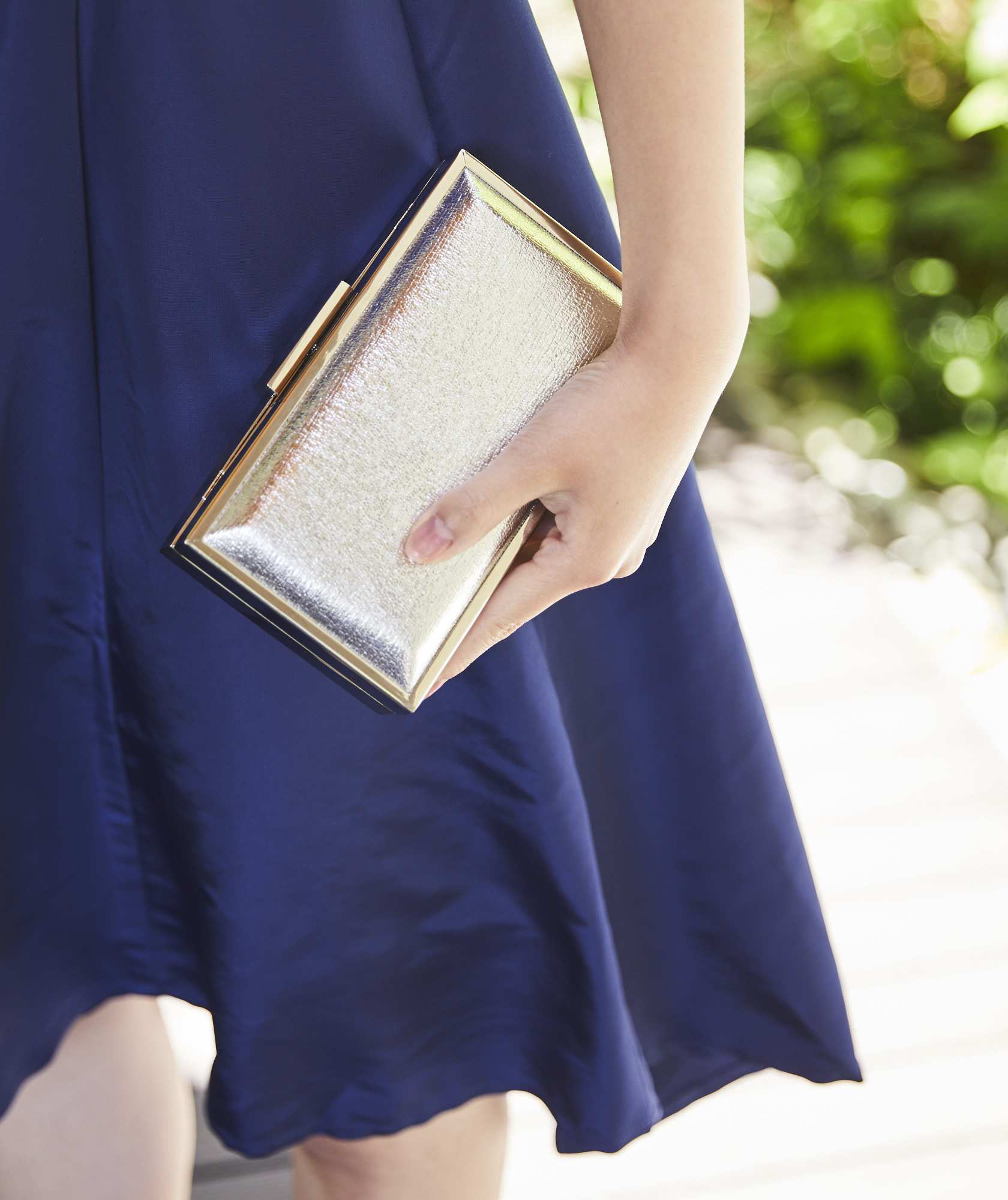 Silver Simple Square Clutch bag