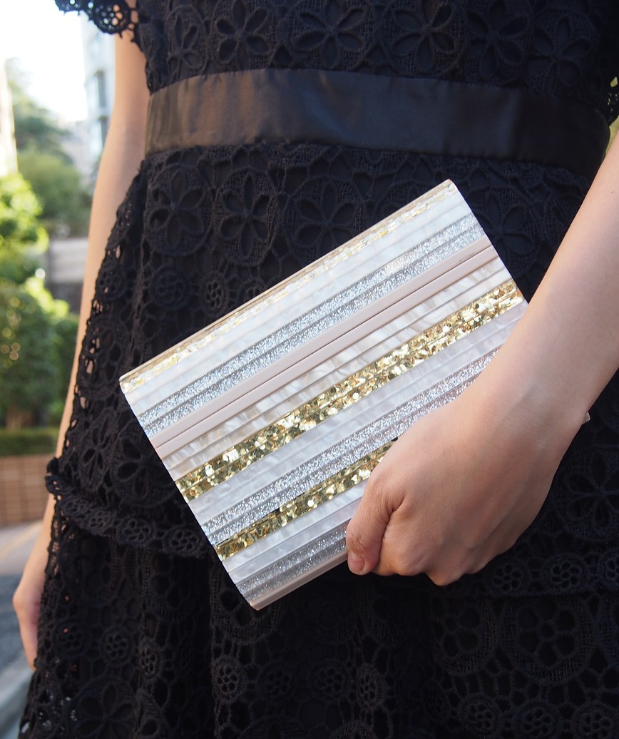 Lame Stripe Multi Clutch bag