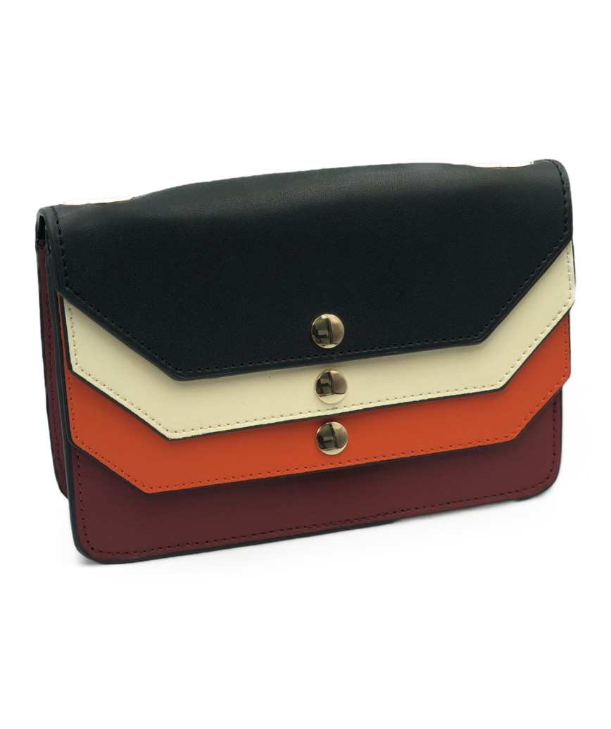 Three color Leather Clutch bag