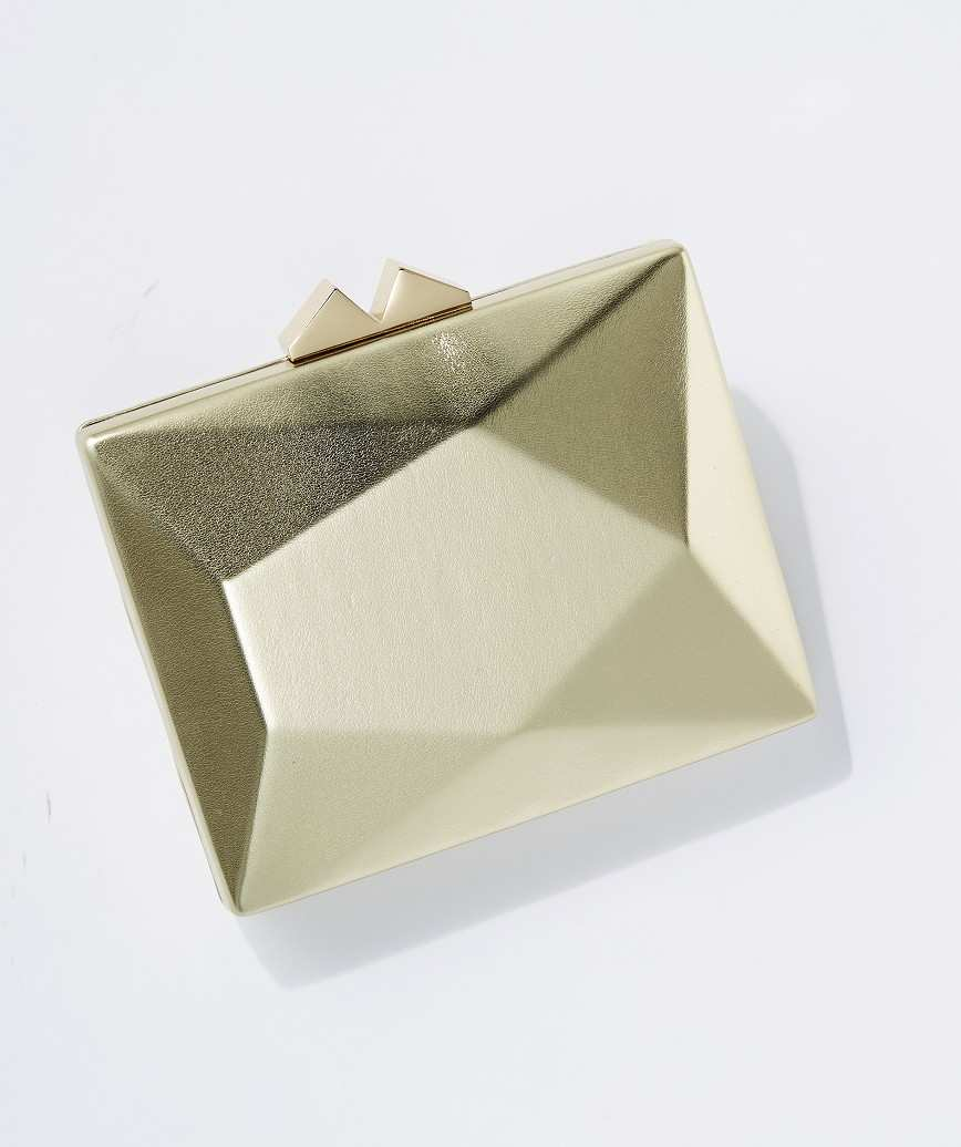Geometric Faux Leather Clutch bag-Gold