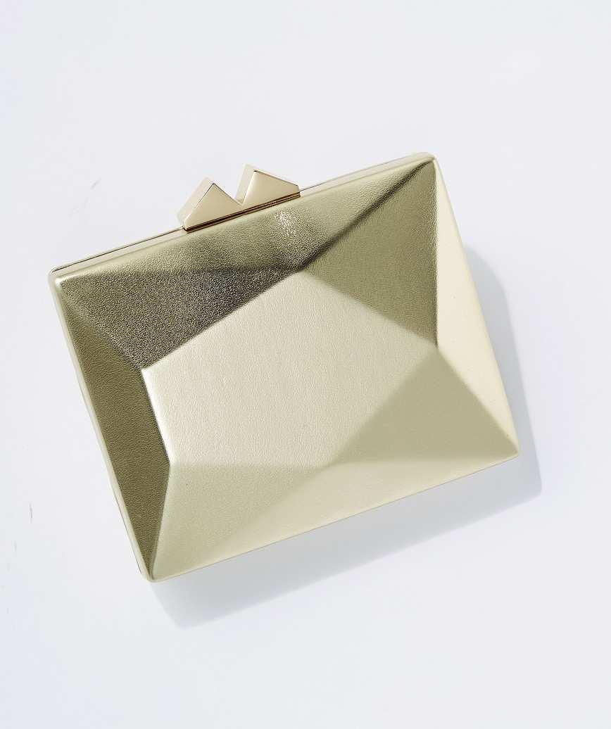 Geometric Faux Leather Clutch bag-Gold