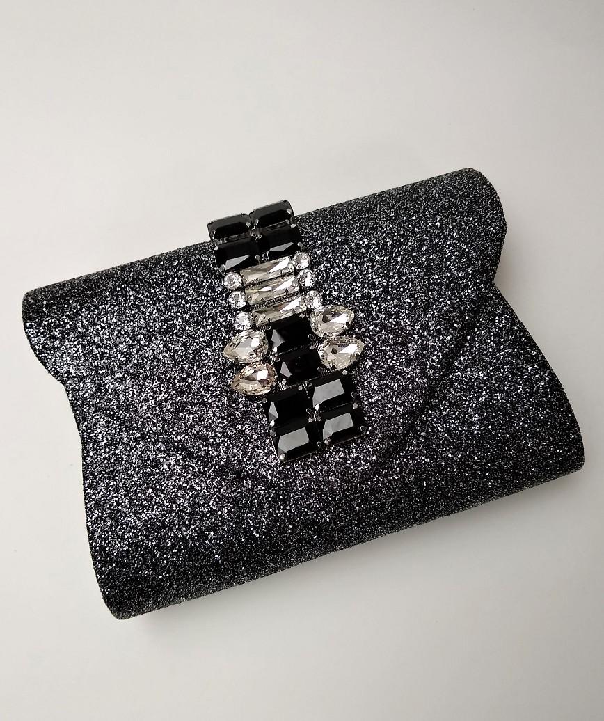 Bijou Silver Lame Cluth bag