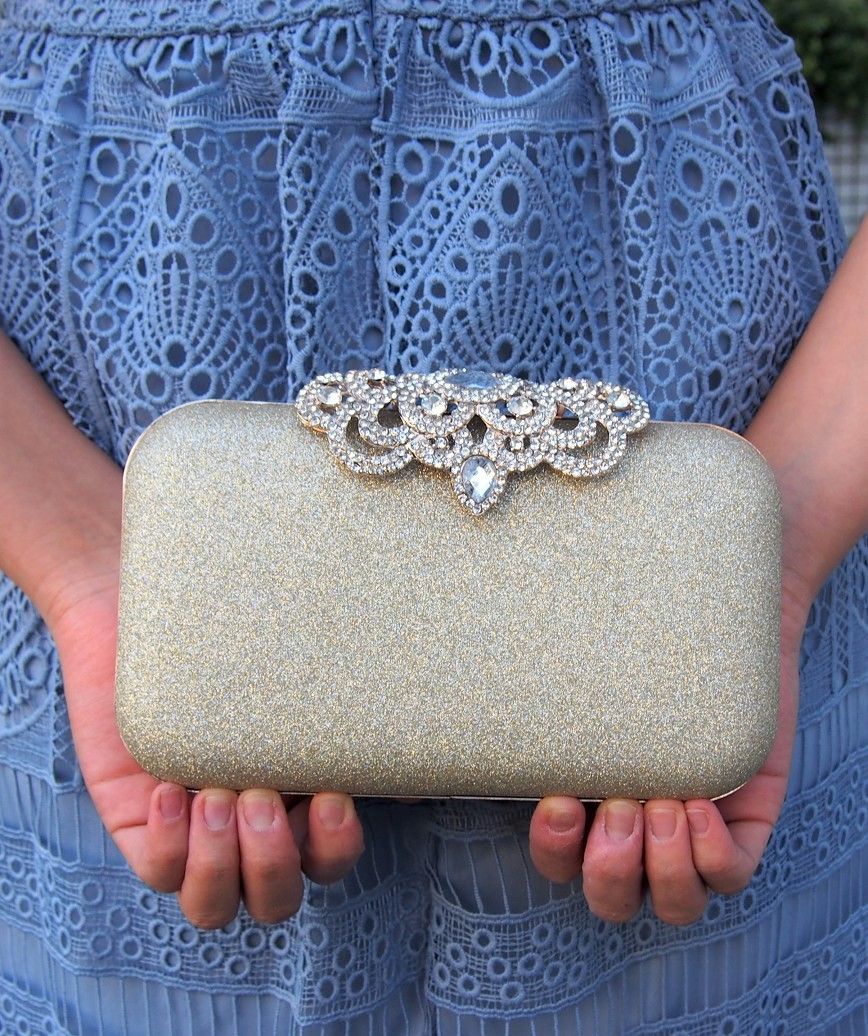 clasp motif lame cluth bag - gold