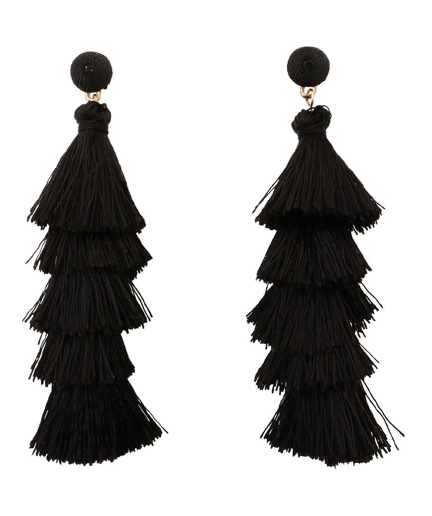 Fringe Long Earrings - Black