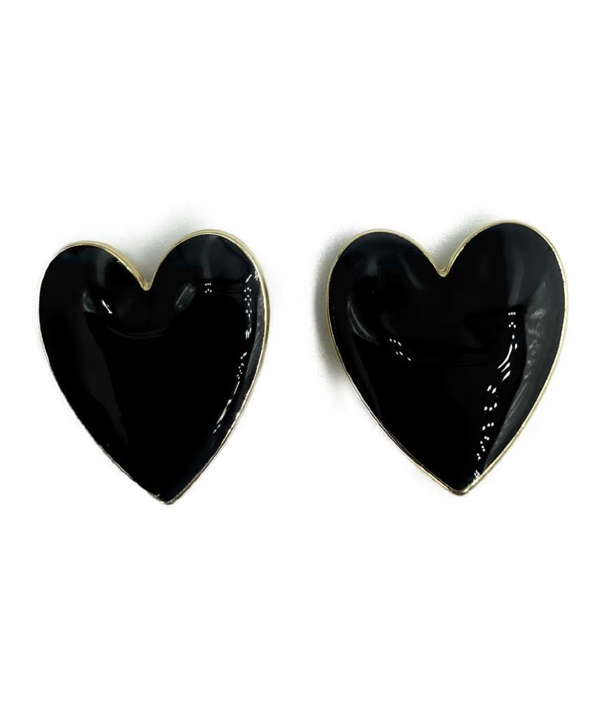 Nellia Heart Stud Earrings-Black