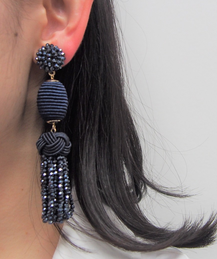 Crystal Tassel long Earrings - Navy