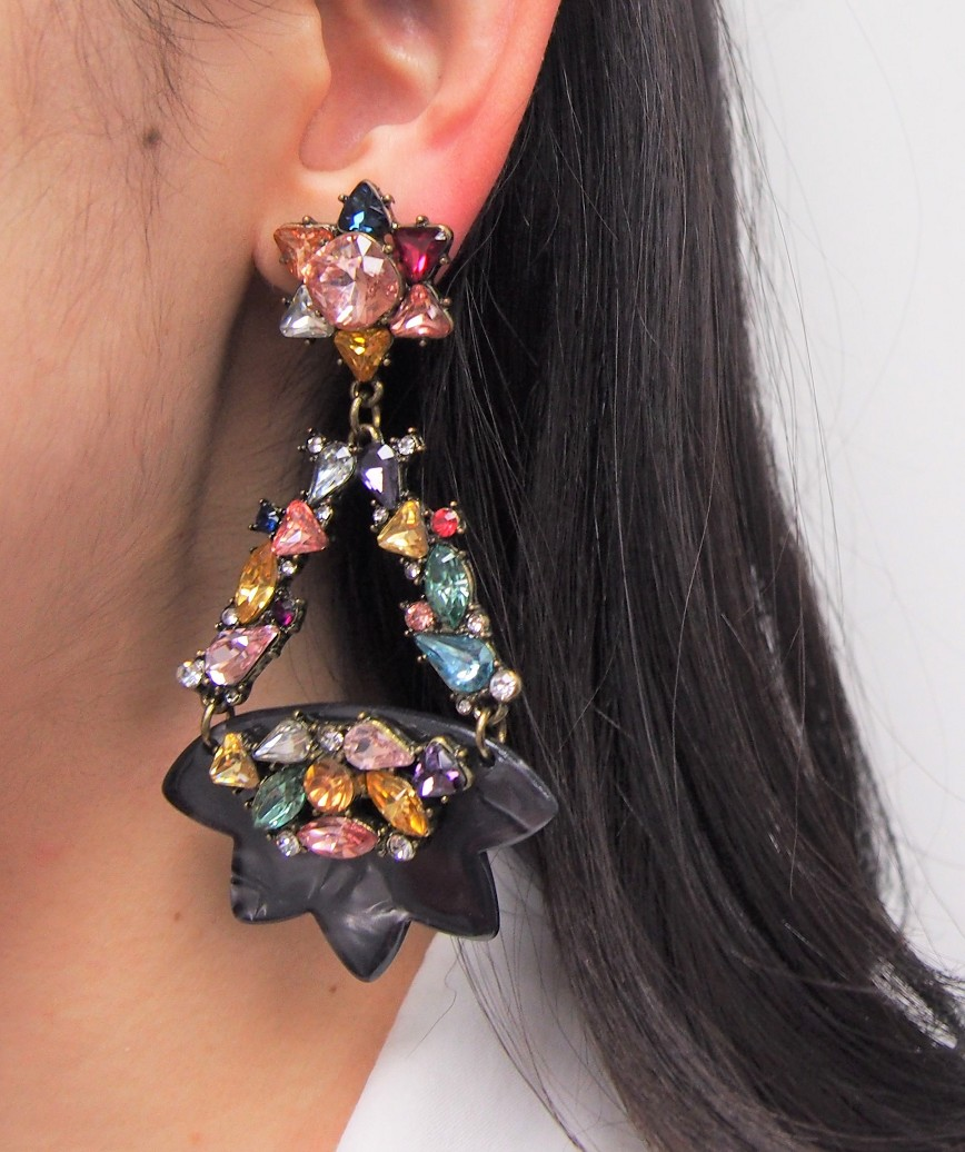Star Motif Drop Earrings - Black