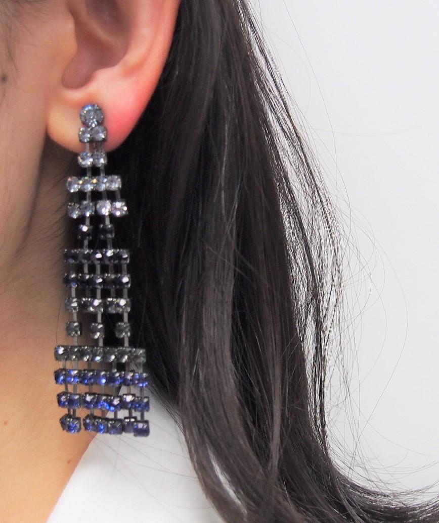Blue Base Drop Earrings