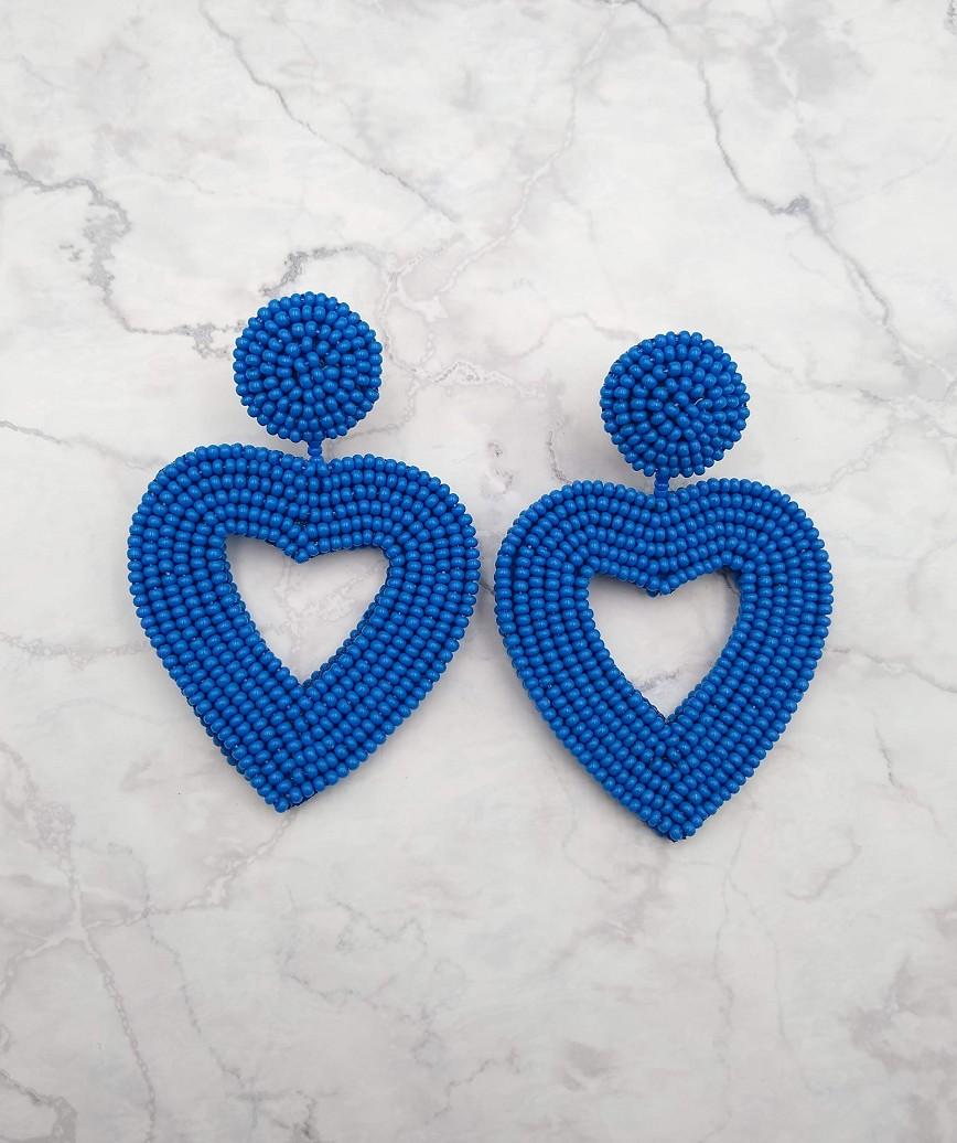 Vionnet Heart Drop Earrings-Blue