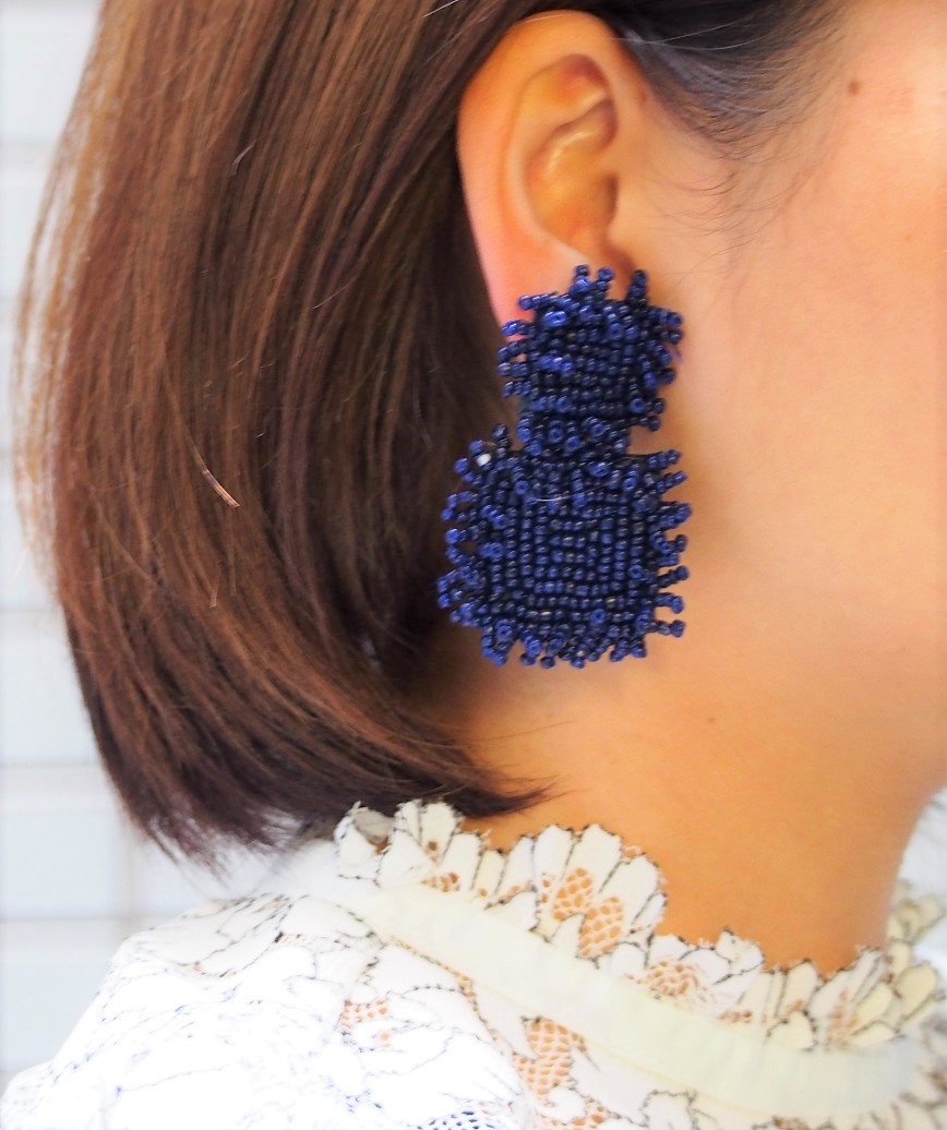 Beads Square Earrings - Navy