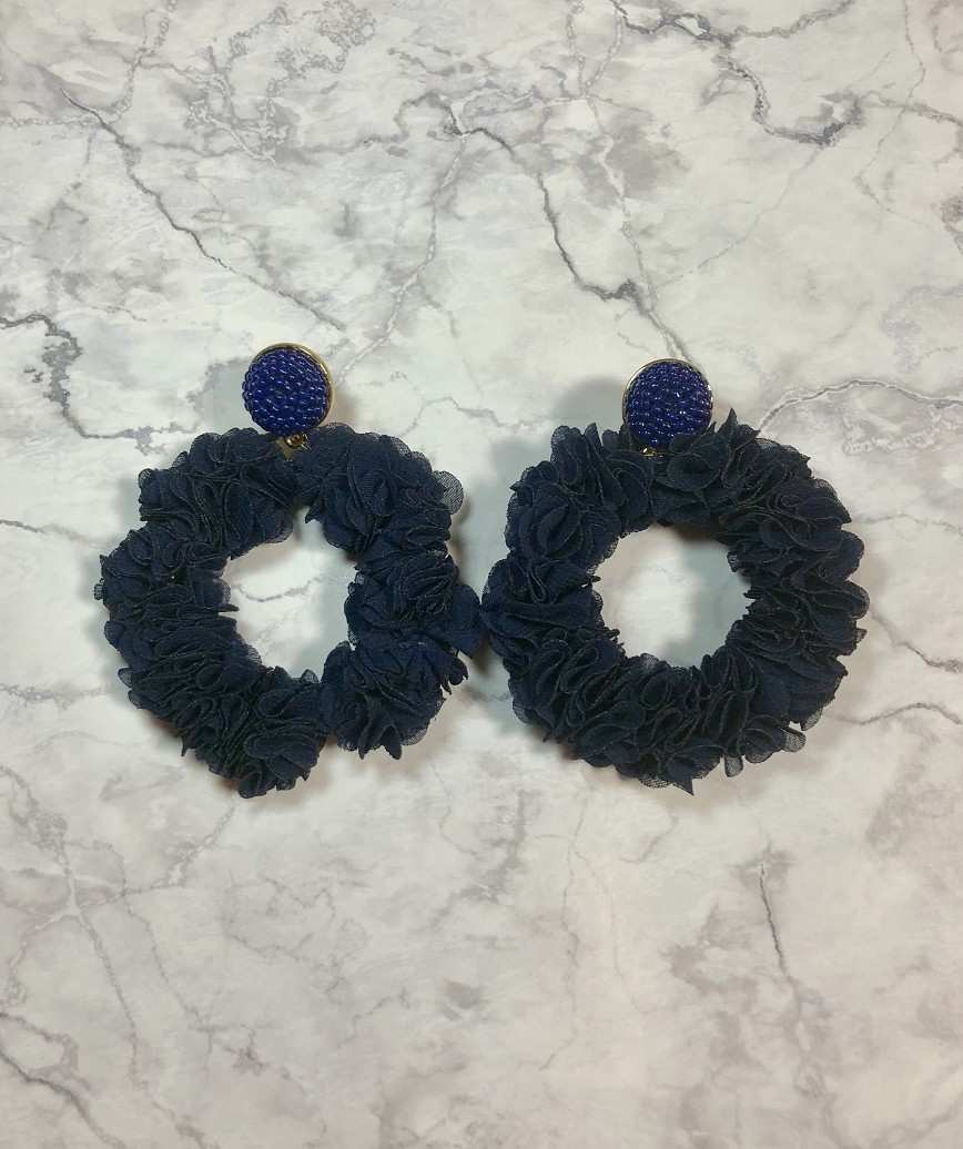 Navy Big motif Earrings