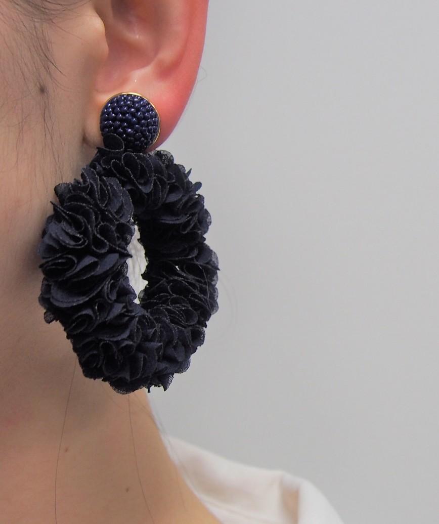 Navy Big motif Earrings