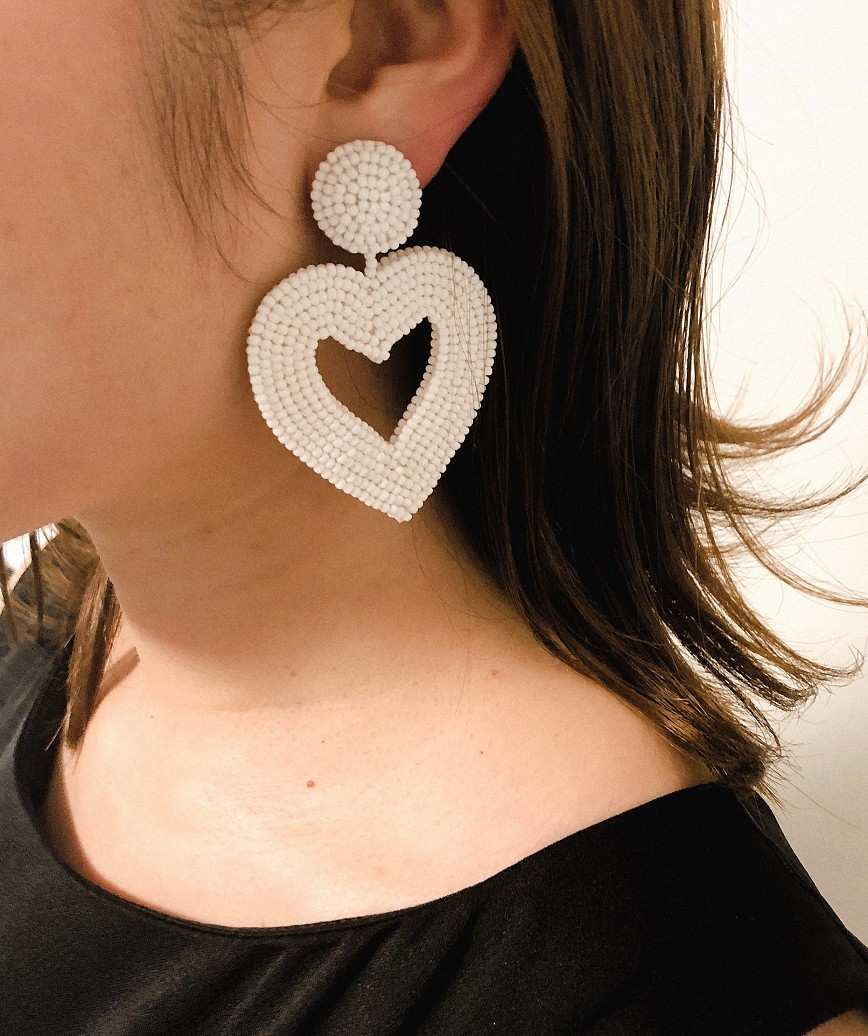 Vionnet Heart Drop Earrings-White