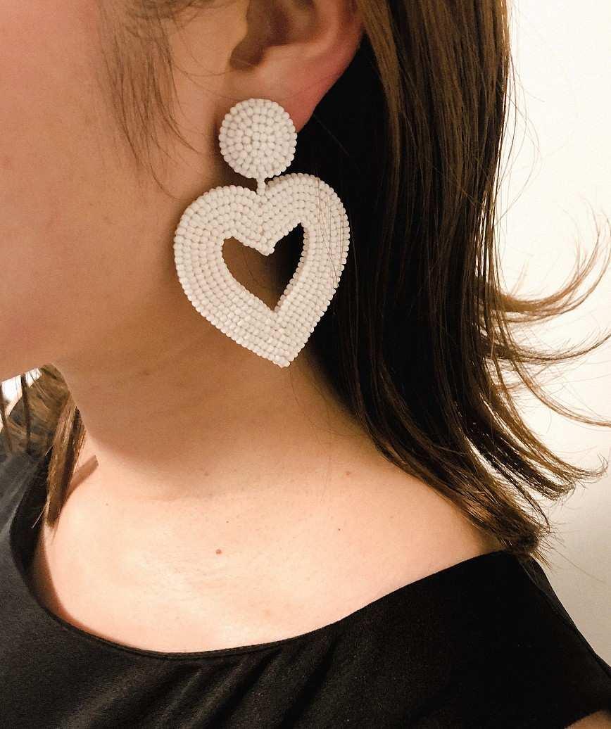 Vionnet Heart Drop Earrings-White