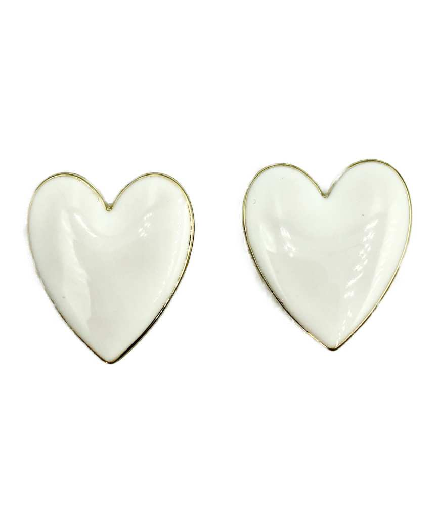 Nellia Heart Stud Earrings-White