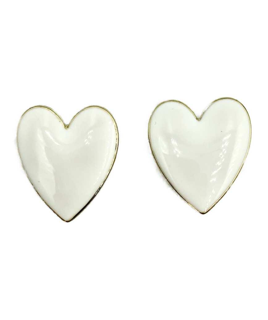 Nellia Heart Stud Earrings-White