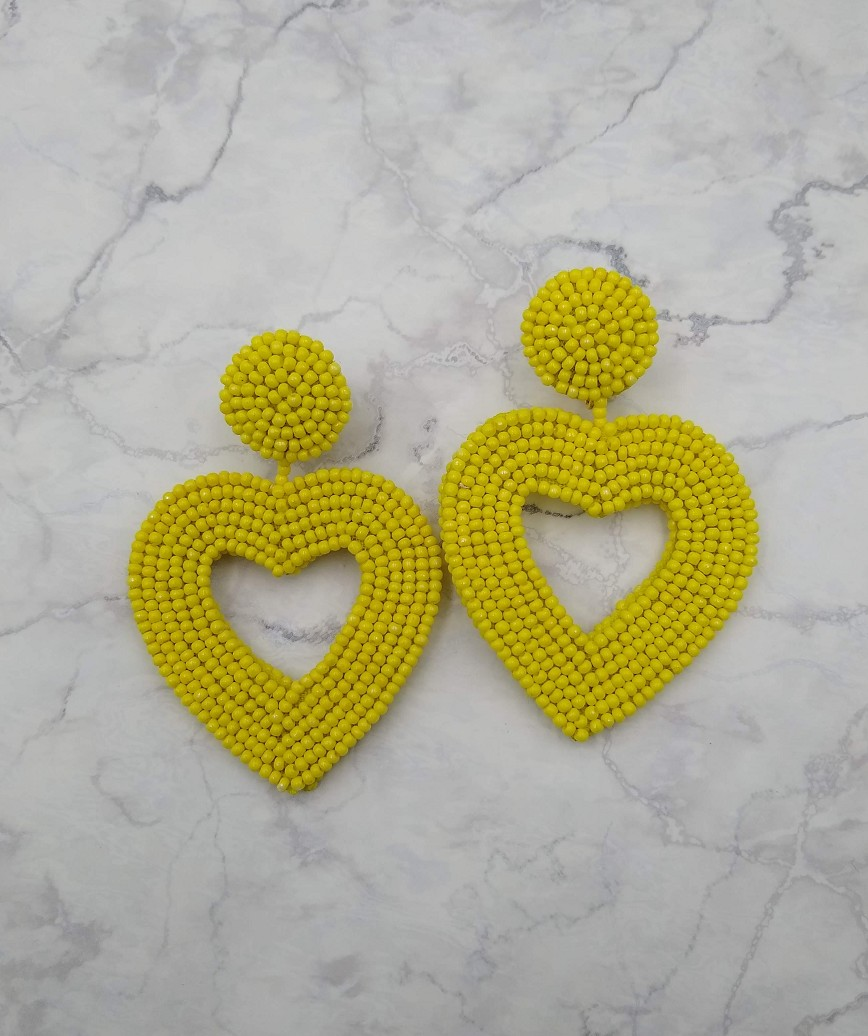 Vionnet Heart Drop Earrings-Yellow