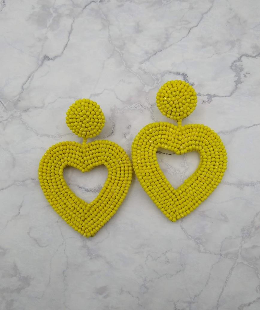 Vionnet Heart Drop Earrings-Yellow