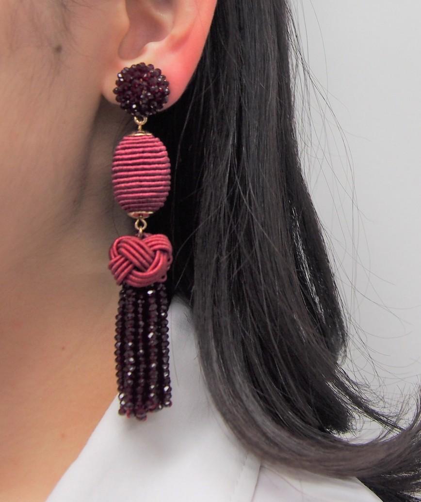 Crystal Tassel long Earrings - Red