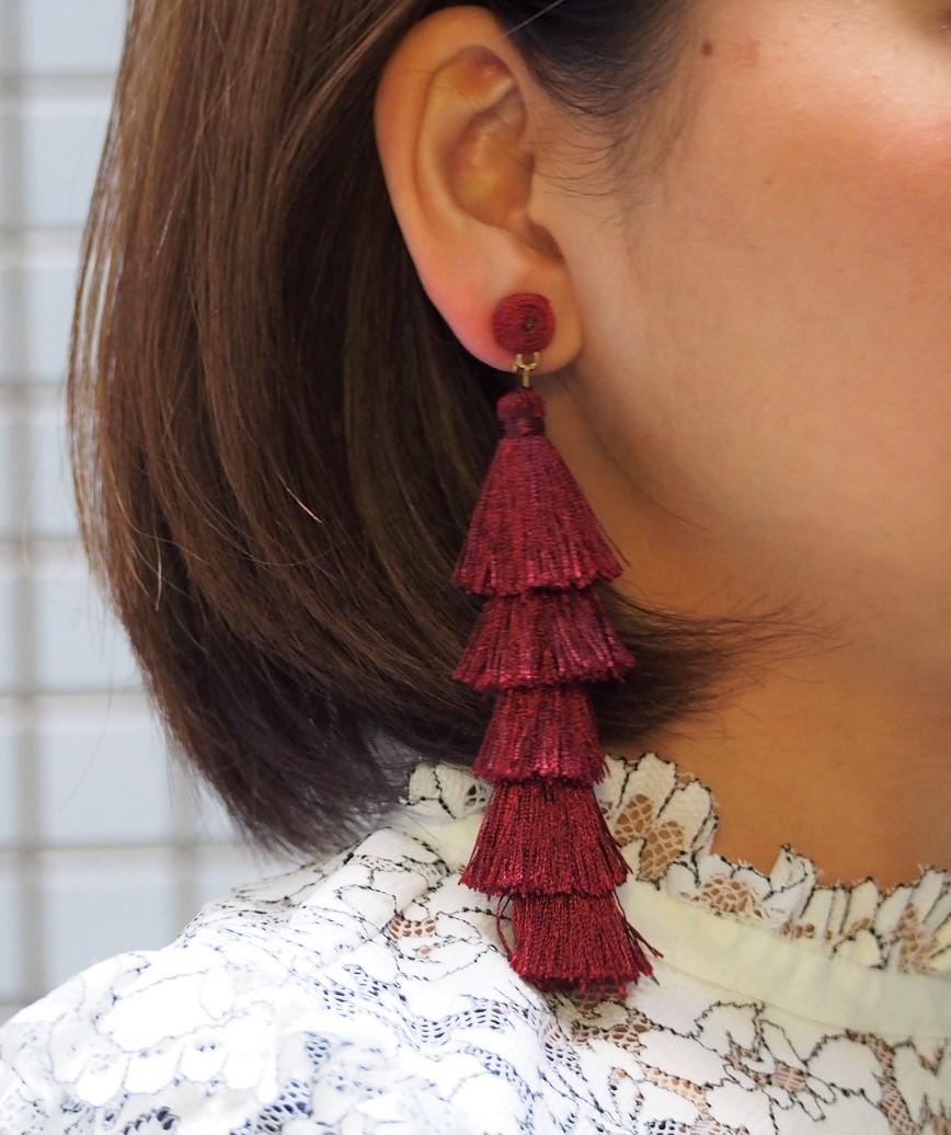 Fringe Long Earrings - Red