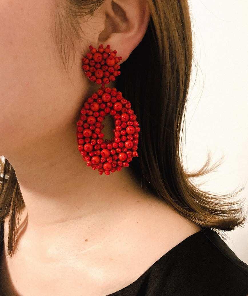 Melayna Drop Earrings-Red