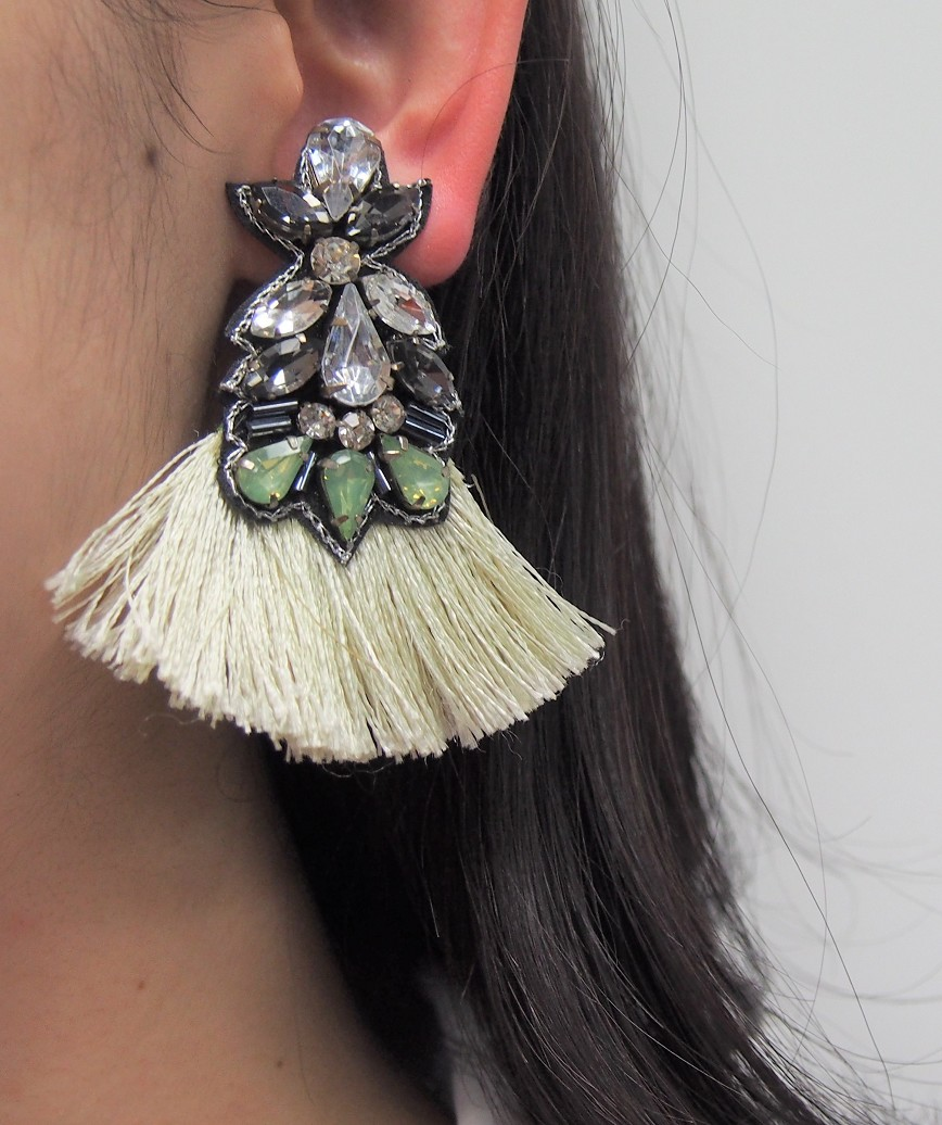 Green Fringe Earrings