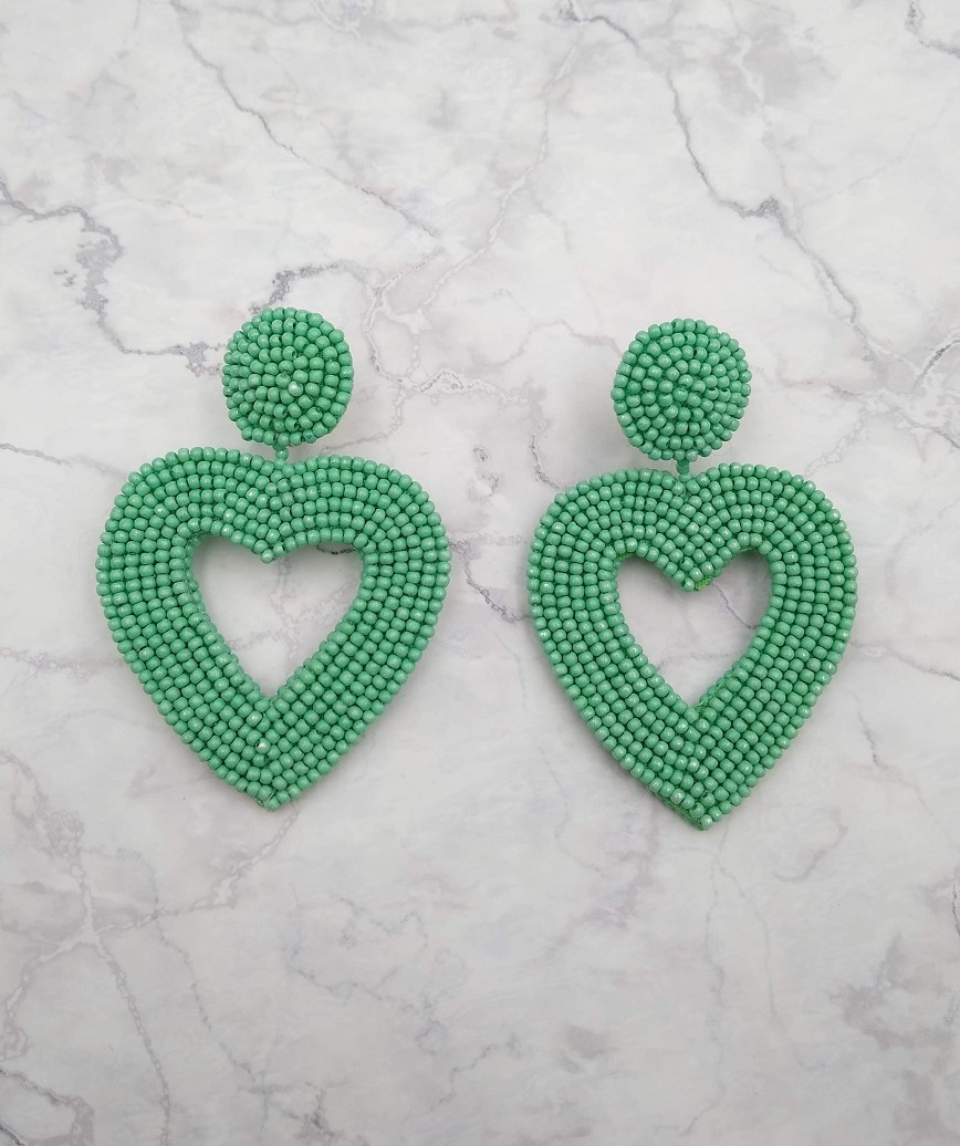 Vionnet Heart Drop Earrings-Green