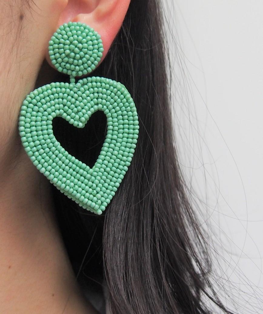 Vionnet Heart Drop Earrings-Green