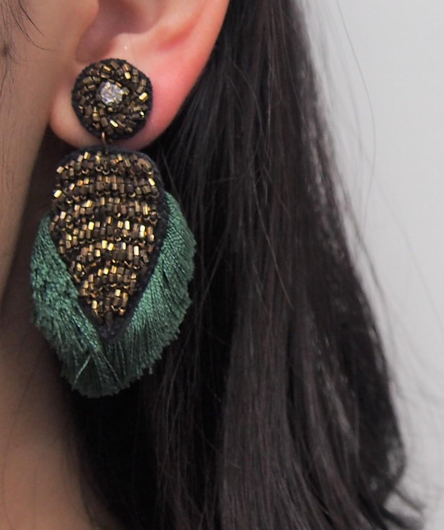 Green Fringe Motif Earrings